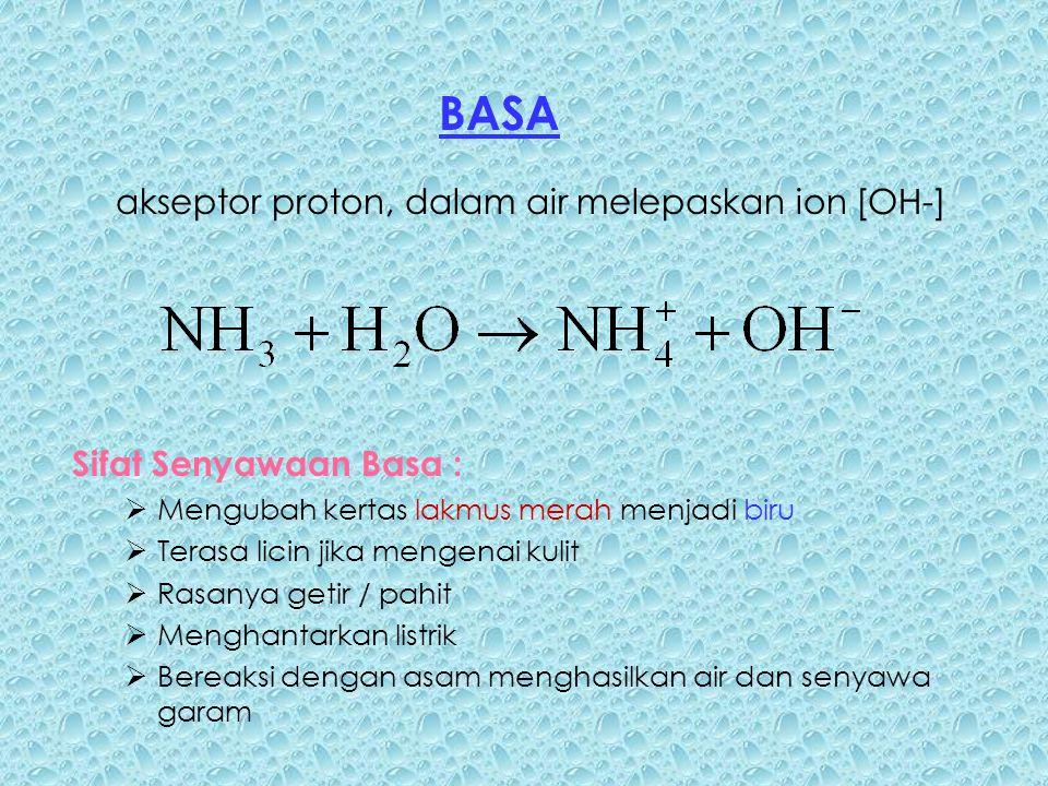 BASA akseptor proton, dalam air melepaskan ion [OH-]